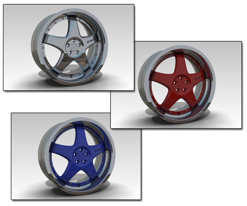 Wheel Rims rendered in Keycreator Artisan